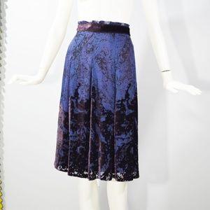 ELIE TAHARI Blue Velvet Burnout Pleated Skirt 4 S